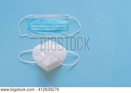 Disposable Medical Face Mask And Respirator With Filter For Choosing. Different Protection - Medical