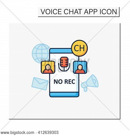 Unrecorded Conversation Color Icon. Private Dialogue. Conversations Are Not Recorded. Communication