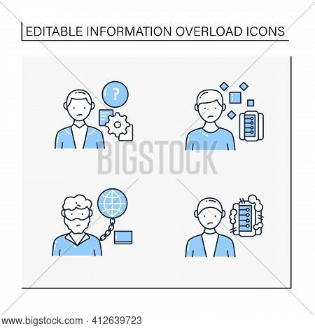 Information Overload Line Icons Set. Consists Of Information Pollution, Internet Addition, Unprocess