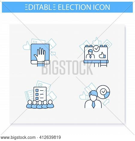 Election Line Icons Set. Oath, Winner, Electoral College, Candidate Banner. Choice, Vote Concept. De
