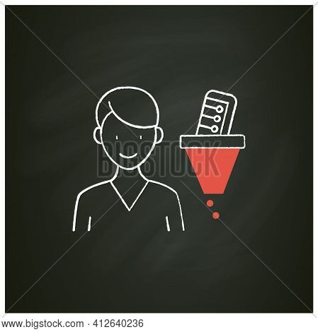 Information Filtering System Chalk Icon. Filtering Information, Searching For Truthful Info.informat