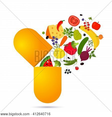 Vegetables And Fruits Fall Into The Pill. Vitamins And Minerals In Dietary Supplements. Nutritional