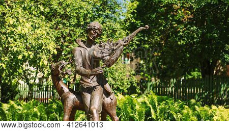 Vitebsk, Belarus - June 16, 2017: Monument To Marc Zakharovich Chagall In Summer Sunny Day. He Was A