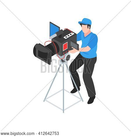 Isometric Cinematography Composition With Isolated Character Of Cameraman Operating Camera On Stand