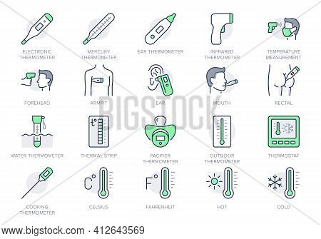 Thermometer Line Icons. Vector Illustration Include Icon - Infrared Pyrometer, Fahrenheit, Contactle
