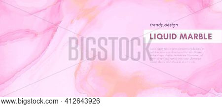 Rose Elegant Background. Liquid Marble Paper. Vintage Pastel Banner. Fluid Design. Pink Elegant Back