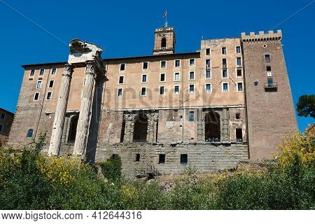 The Facade Of The Tabularium And The Temple Of Vespasian And Titus At The Roman Forum In Rome, Italy