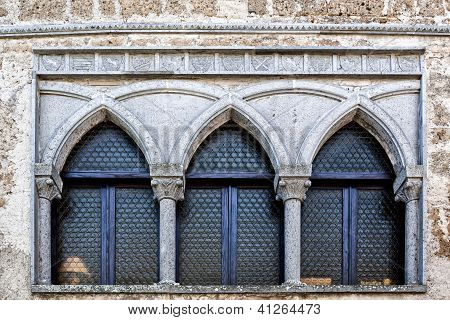 Romanesque-Gothic lead glass window, Italian Architecture - Umbria