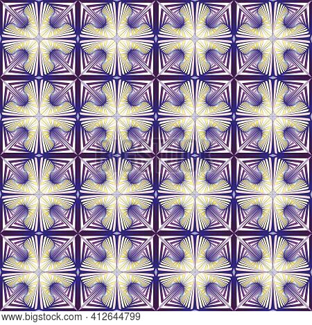 Vector, Seamless, Image From Cross-shaped Openwork Cells Of A Violet Shade