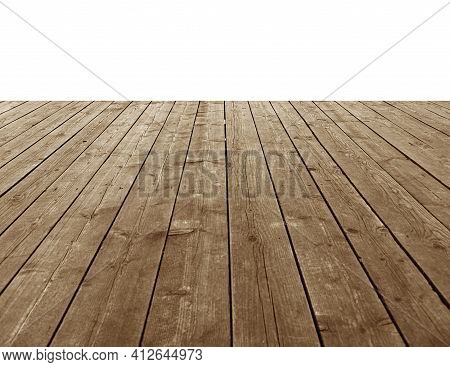 Wooden Planks In The Form Of A Pier Or Platform Isolated On White Background.