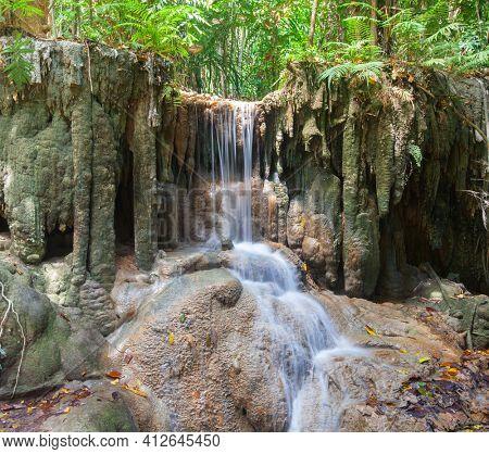 Part of Waterfall Erawan in Kanchanaburi, Thailand