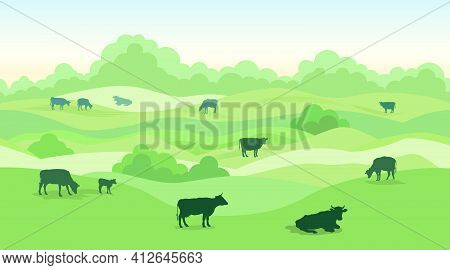 Rural Dairy Farm Landscape With Cows Over Seamless Panoramic Countryside Horizon. Hills, Meadows, Tr