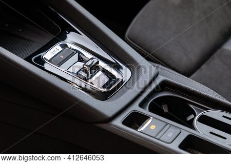Electronic Gear Shift In New Modern Car