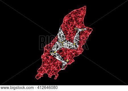 Map Of Isle Of Man, Polygonal Mesh Line Map, Flag Map