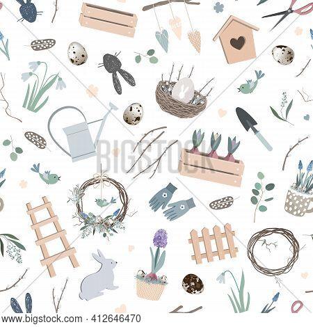 Scandinavian Easter Seamless Pattern With Spring Decor, Hand Made Wreath, Garden Tools, Bunny Figure