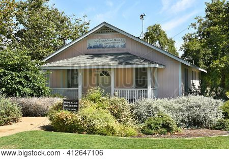 IRVINE, CA - JULY 9,2016: Marsh House. One of three restored historic homes that are part of the Irvine Ranch Water District's, San Joaquin Marsh Campus.