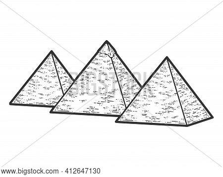 Egypt, Three Pyramids. Sketch Scratch Board Imitation. Black And White.