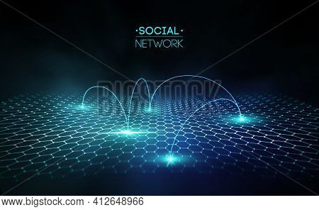 Social Media Blue Abstract Technology Background. Global Social Network Vector Abstract. Network Cyb