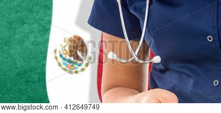 Mexico Flag Female Doctor With Stethoscope, National Healthcare System