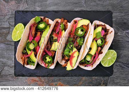Vegetarian Mushroom Tacos. Serving Platter Top View On A Dark Slate Background. Healthy Eating, Plan