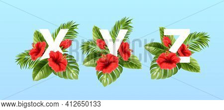 X V Z Letters Surrounded By Summer Tropical Leaves And Red Hibiscus Flowers. Tropical Font For Summe