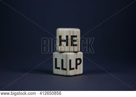 Hell Or Help Symbol. Turned A Cube And Changed The Word 'hell' To 'help'. Business, Psychology And H