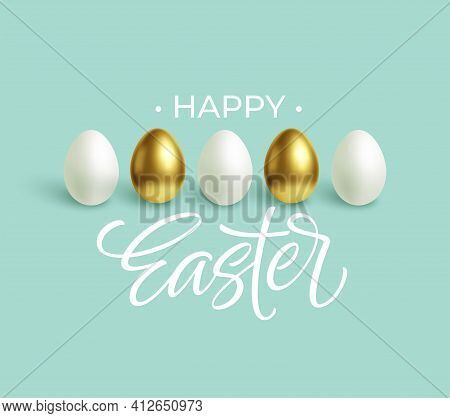 Happy Easter Festive Blue Background With Gold And White Easter Eggs. Vector Illustration
