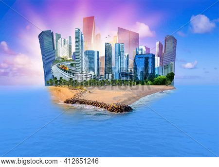 Collage About Miami, Florida, United States Of America. It Is World Famous Travel Location. Vector I