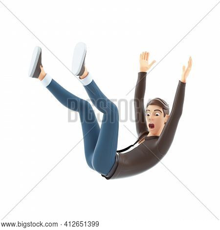 3d Cartoon Man Falling From Height, Illustration Isolated On White Background