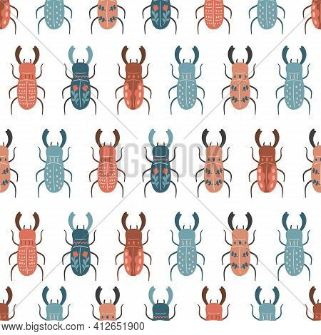 Vector Seamless Pattern With Stylized Stag Beetles In Folk Style. Hand Drawn Insects On White Backgr