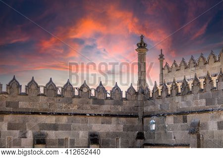 Alupka, Crimea - August, 30, 2020: The Walls Of The Old Palace On The Background Of A Pink Sunset. V
