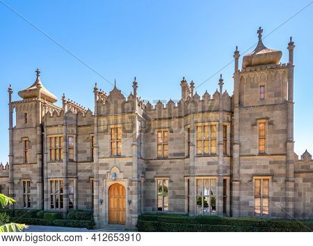 Alupka, Crimea - August, 30, 2020: Scenic View Of Vorontsov Palace In Crimea, Russia. It Is One Of T