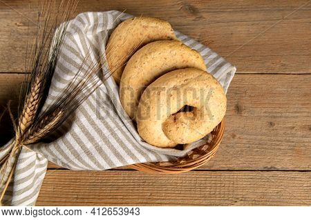 Tipical Bakery Of Puglia Dry Bread Called Friselle. Classical Apulian Frise Made In Salento By Whole
