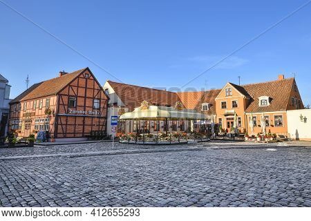Klaipeda, Lithuania - August 13, 2020: View On Modern And Old Hotels And Curonian Lagoon, City Cente