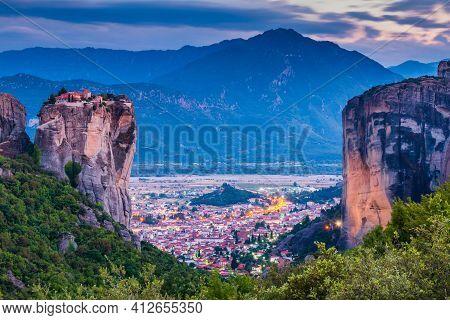 Meteora, Greece. Holy Trinity Monastery (agia Trias) And Kalabaka Town.
