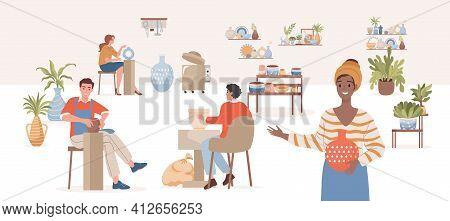 Pottery Workshop Vector Flat Illustration. Happy Smiling People Making Modern Ceramics, Tableware, D