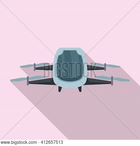 Driverless Taxi Drone Icon. Flat Illustration Of Driverless Taxi Drone Vector Icon For Web Design