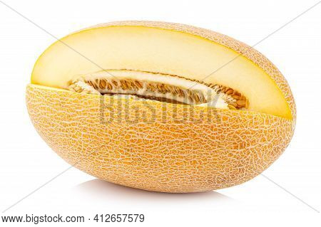 Melon Isolated On White Background. Clipping Path.