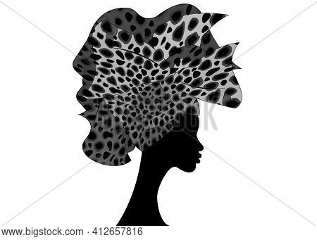 Beautiful Portrait Afro Woman In Traditional Head Tie Scarf Turban In Leopard Texture. African Weddi