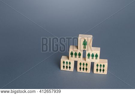 Blocks With People Are Built In A Triangle. Conformism System Leader - Subordinate. Personnel Manage