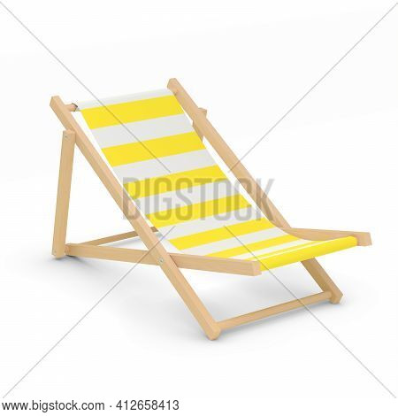 Chaise Longue, Isolated Yellow And White Color. 3d Rendering.