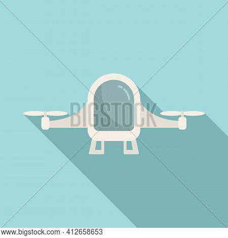 Future Unmanned Taxi Icon. Flat Illustration Of Future Unmanned Taxi Vector Icon For Web Design