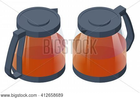 Tea Ceremony Icon. Fresh Brewed Black Tea In A Glass Teapot Isolated On White. Traditional Asian Tea