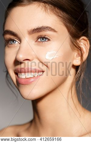 Beauty And Skin Care Concept. Face Of Woman With Facial Mask, Moisturizer On Natural Ingradients, No