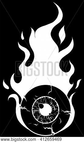 Eyeball On Fire - A Cartoon Illustration Of A Eyeball With Flames Silhouette In Black Background
