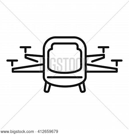 Driverless Taxi Drone Icon. Outline Driverless Taxi Drone Vector Icon For Web Design Isolated On Whi