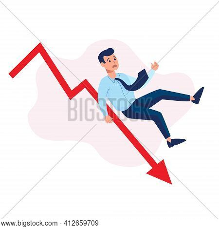Illustration Of Financial Collapse, Economic Crisis. Vector In A Flat Style On A White Background. T