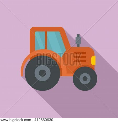 Farm Tractor Icon. Flat Illustration Of Farm Tractor Vector Icon For Web Design