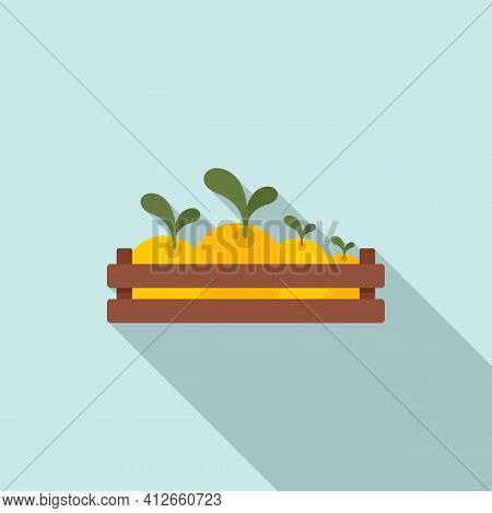 Wood Box Radish Icon. Flat Illustration Of Wood Box Radish Vector Icon For Web Design