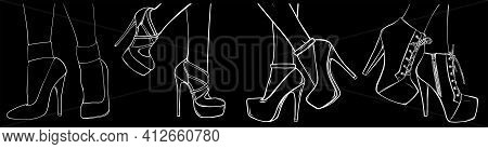 Fashion High Heels Shoes. Silhouette In Black Background Vector Art Illustration.